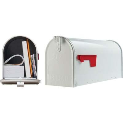 Gibraltar Elite T1 White Steel Rural Post Mount Mailbox