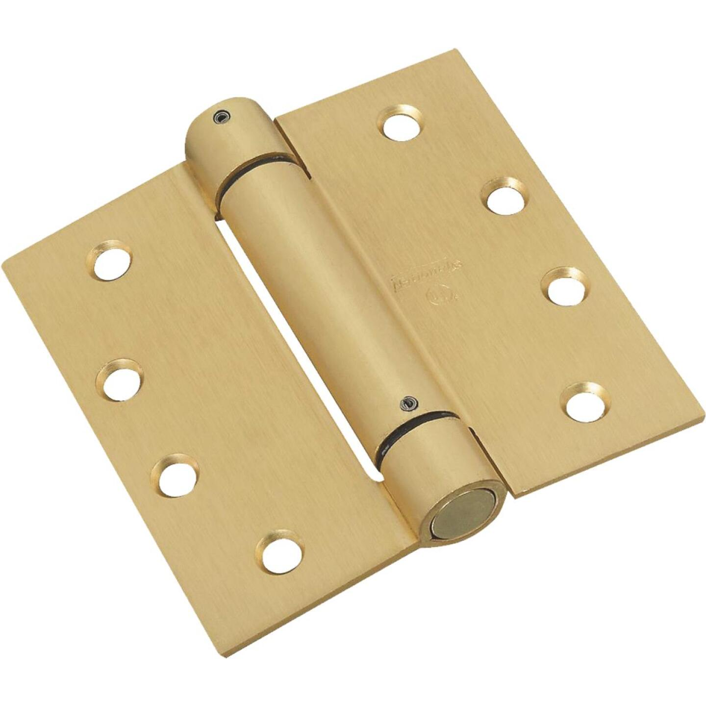 National 4 In. Square Satin Brass Spring Door Hinge Image 1