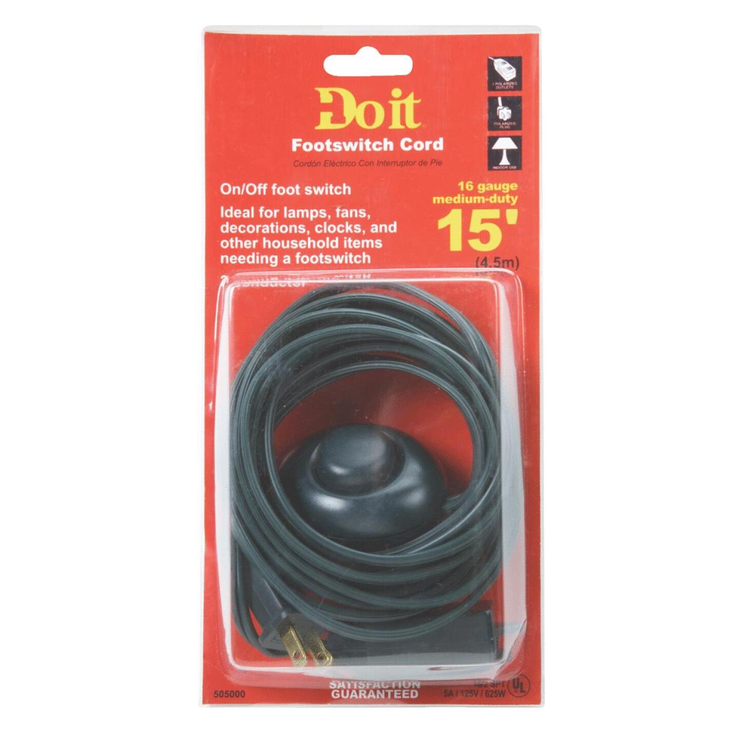 Do it 15 Ft. 18/2 Green Extension Cord with Foot Switch Image 2