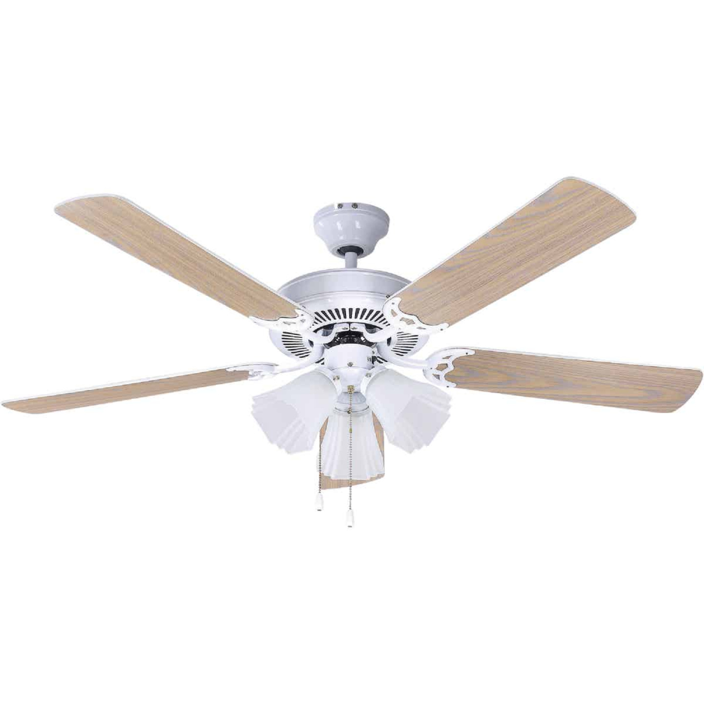 Home Impressions Sherwood 52 In. White Ceiling Fan with Light Kit Image 1