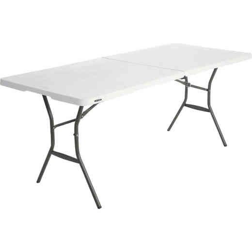 Lifetime Essential 6 Ft. x 30 In. White Granite Fold-In-Half Table