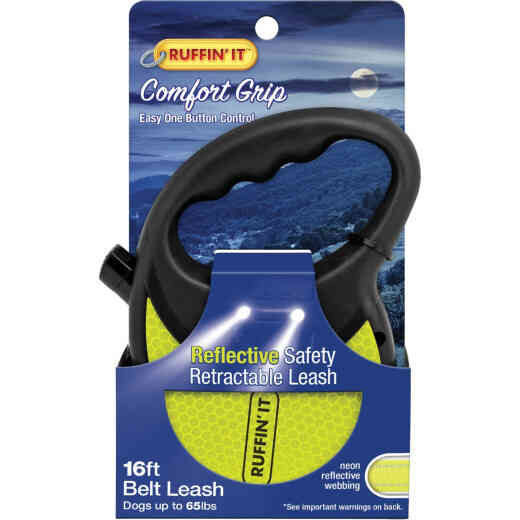 Westminster Pet Ruffin' it 16 Ft. Webbed Reflective Neon Yellow Up to 50 Lb. Dog Retractable Leash